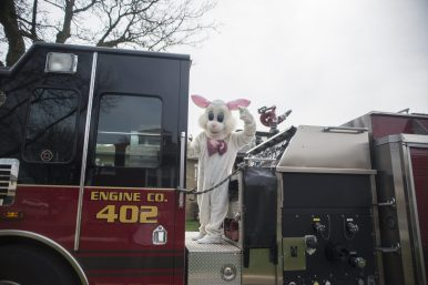 Because COVID restrictions prevented the park district from holding its usual events, they collaborated with the village to drive the Easter bunny up and down the streets of Forest Park. | File photo