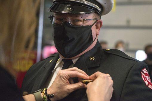 Tim Conrad is sworn in as Forest Park's deputy fire chief on Dec. 30. | Alex Rogals, Staff Photographer