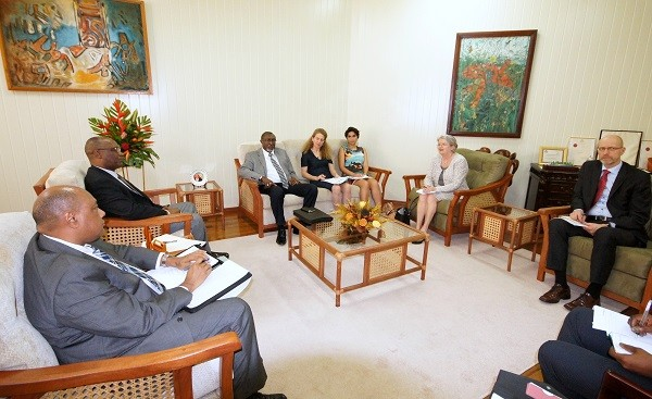 From left- Minister of Natural Resources, Mr. Raphael Trotman, Minister of State, Mr. Joseph Harmon, Honorary Consul of Norway in Guyana, Mr. Desmond Sears, Senior Adviser in the Department of Climate, Energy and Environment in Norway, Ms. Hege Ragnhildstveit, Forest and Climate Counsellor, Ms. Anahita Yousefi, Ambassador, H.E. Aud Maritt Wiig and Deputy Director of Development Policy in the Norwegian Ministry of Climate and Environment, Mr. Simon Rye.