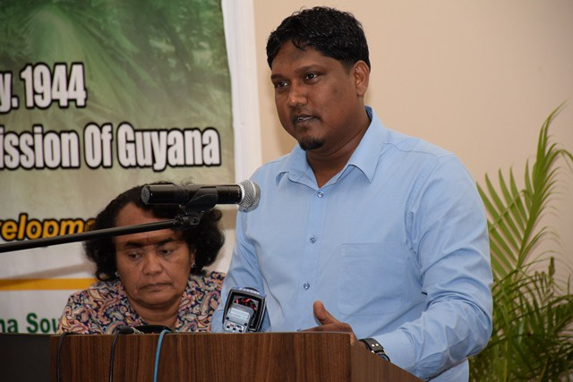 President of the Forest Producers Association of Guyana, Deonarine Ramsaroop making a presentation.