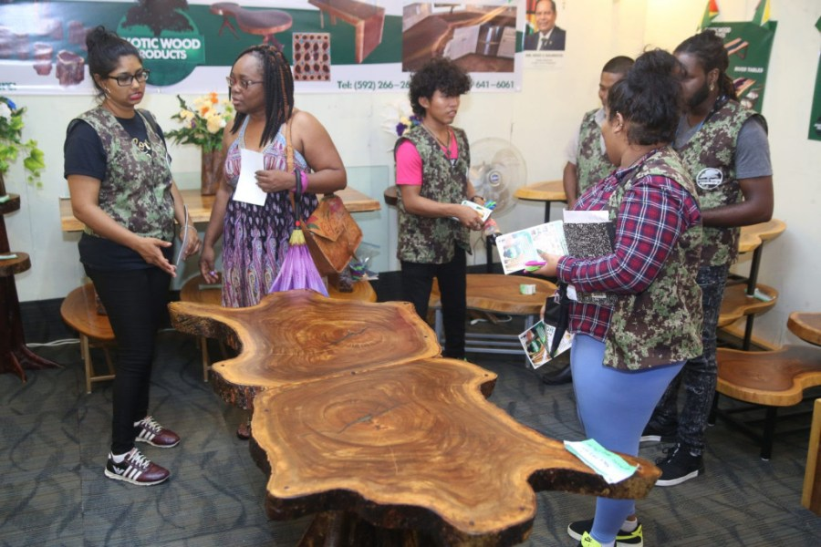 Furniture offered by Exotic Wood Products, a new company that debuted at the Timber Expo