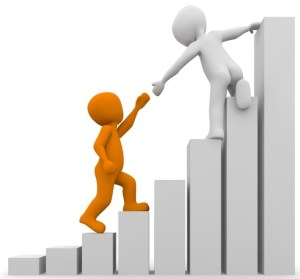 figure of helping others to reach top