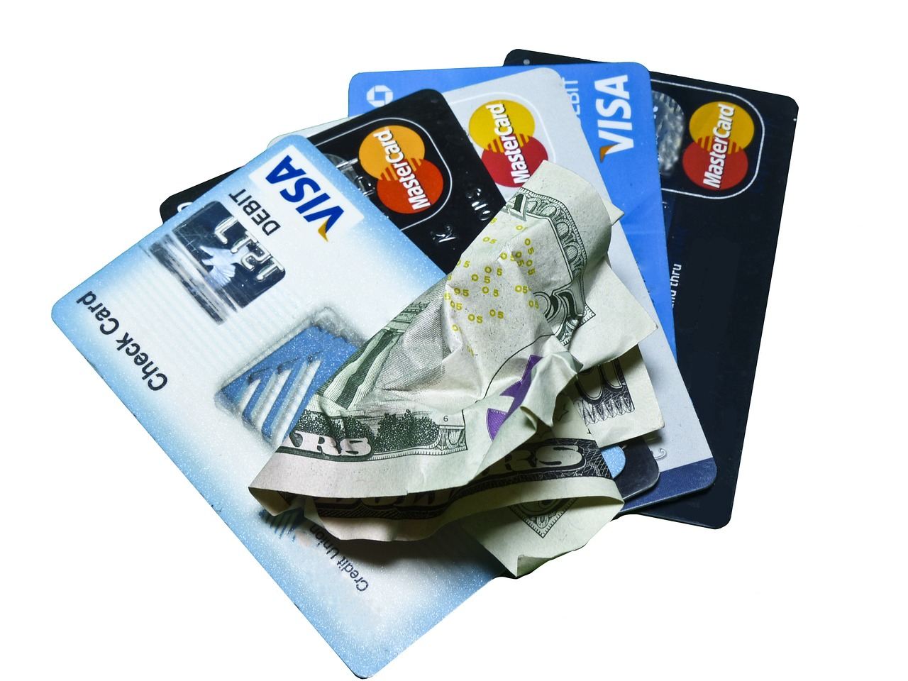 kinds of credit cards with a dollar bill