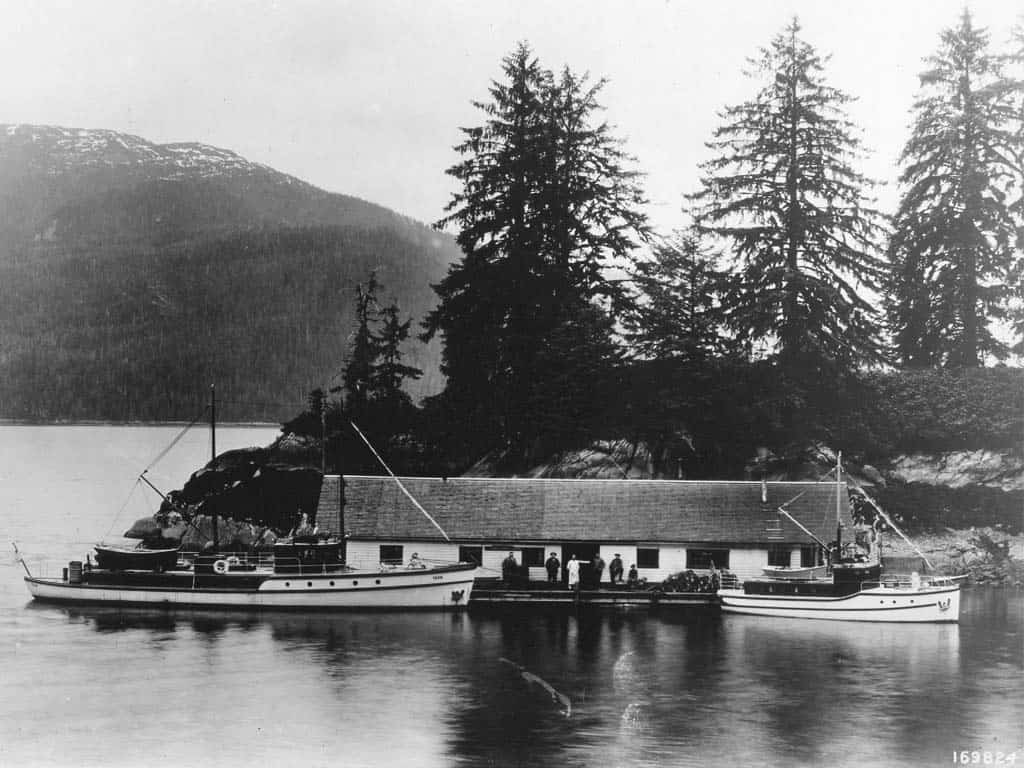 The first Alaskan Ranger Boat Than, alongside the Wanigan, c. 1915. Crews lived and worked on these boats in the Tongass National Forest, which has some 11,000 miles of coastline.