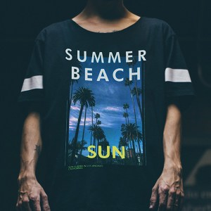 Laser-Dark (No-Cut) LowTemp design on a Black Tshirt - Summer Beach vibes tshirt design