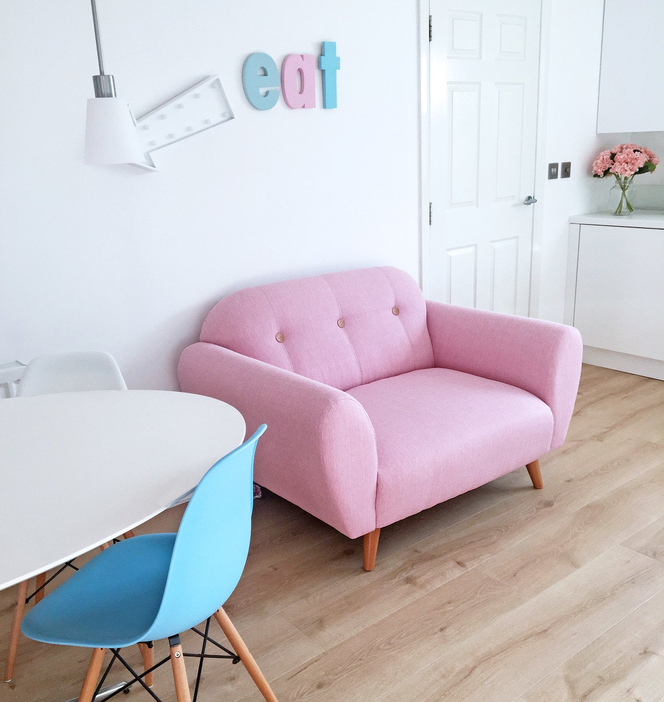 pink sofa browse uk lazy boy reclining back removal styling options dfs betsy two seater cuddler