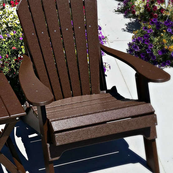 Fan Back Amish All Weather Poly Adirondack Chair - Solid Brown