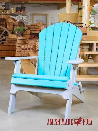 Amish Made Poly Folding Adirondack Chair Aruba Blue Light Gray