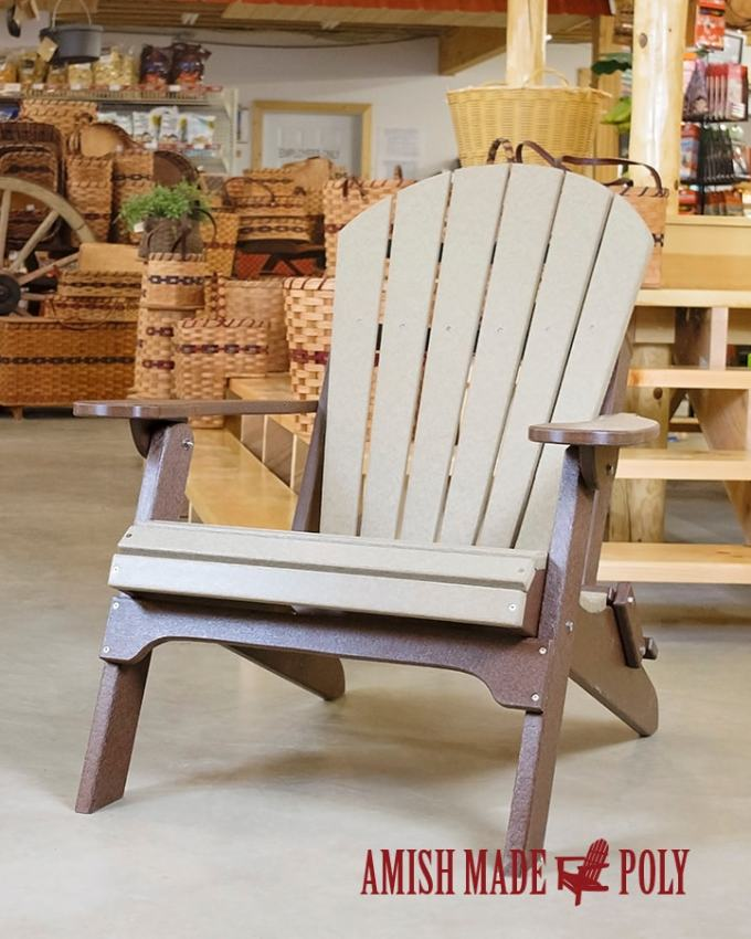 Amish Made Poly Folding Adirondack Chair Weatherwood On Brown