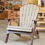 Amish Made Poly Folding Adirondack Chair Weatherwood On Brown