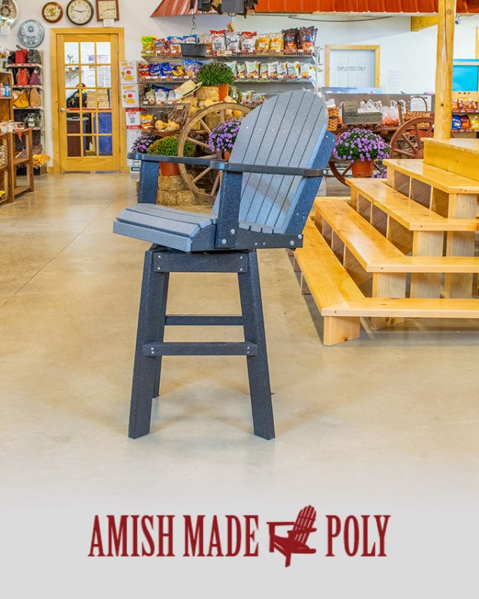 Amish Made Poly - Bar Height Swivel Chair, Slate Gray on Black