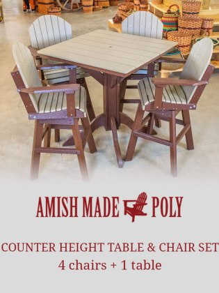 counter height table chair set amish made poly