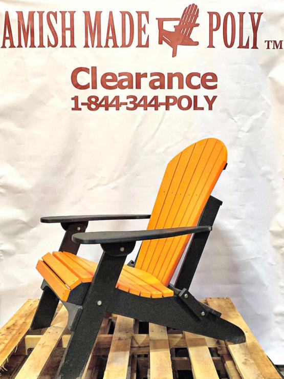 Amish Made Folding Poly Adirondack Chair Orange on Black