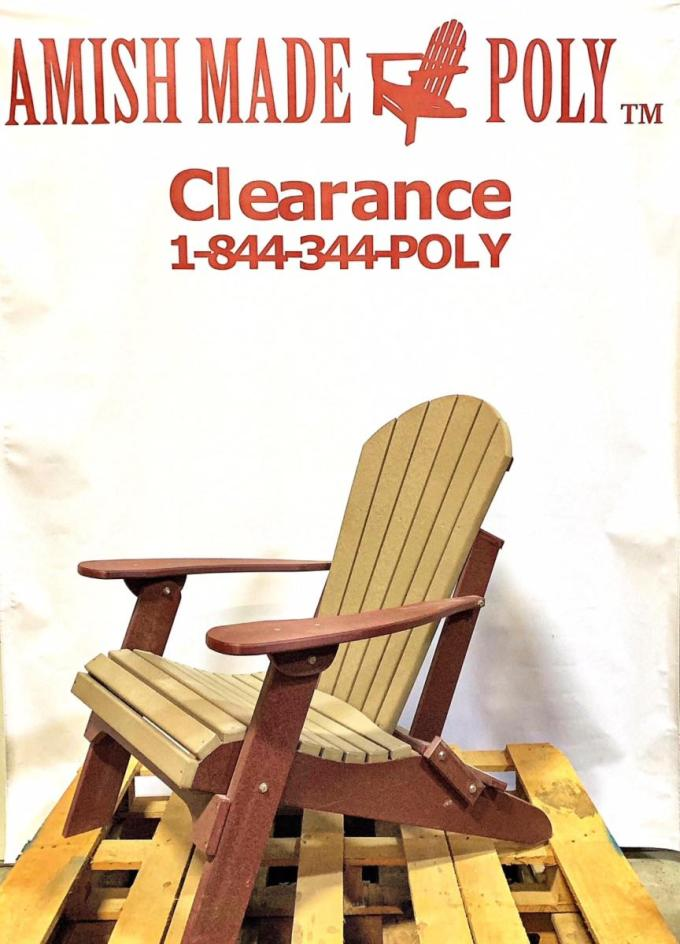 Amish Made Folding Poly Adirondack Chair - Weatherwood on Cherry, Clearance