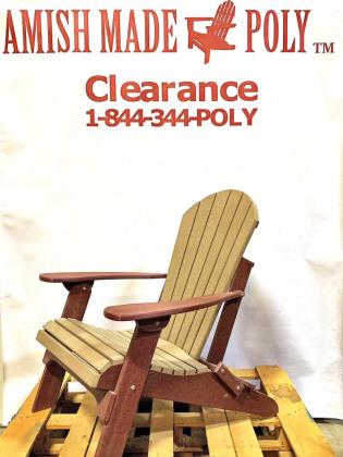 Amish Made Folding Poly Adirondack Chair - Weatherwood on Cherry, Clearance