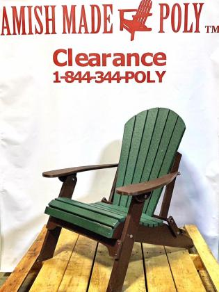 Amish Made Folding Poly Adirondack Chair Woodland Green on Brown