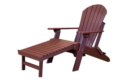 Amish Made Folding Adirondack Chair with Pull Out Ottoman Cherry