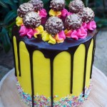 Chocolate and Custard Drip Cake