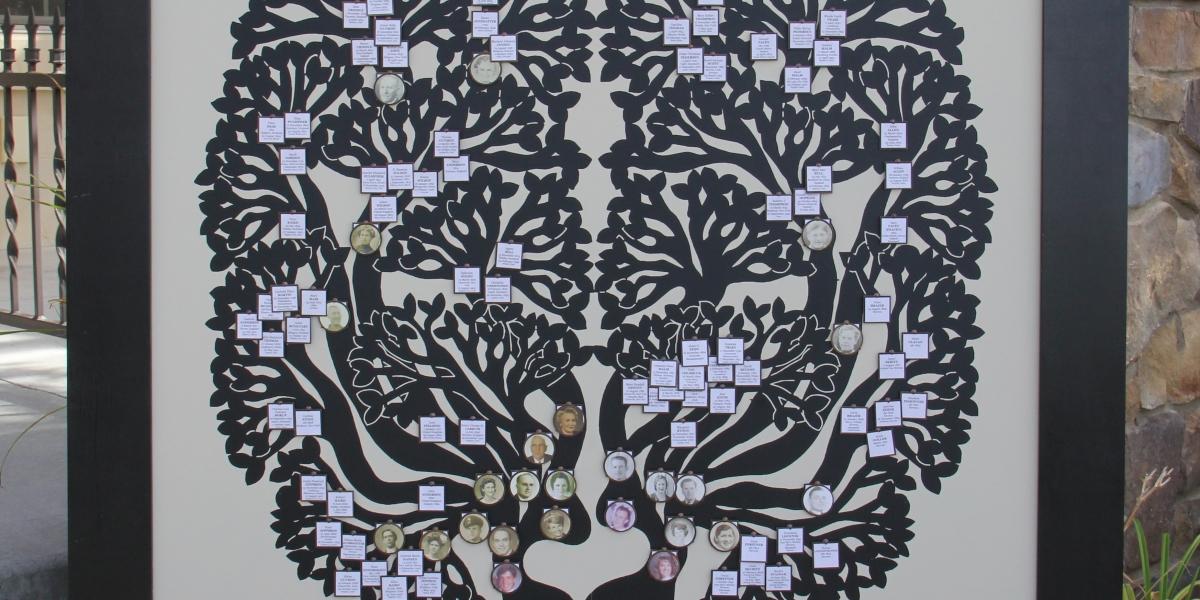 Forever Family Trees black vinyl cream background and black frame