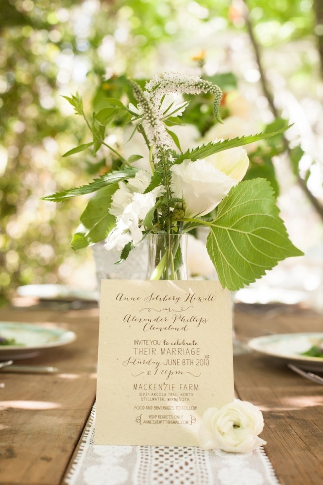 Laser Cut Rustic Organic Wedding Invitation