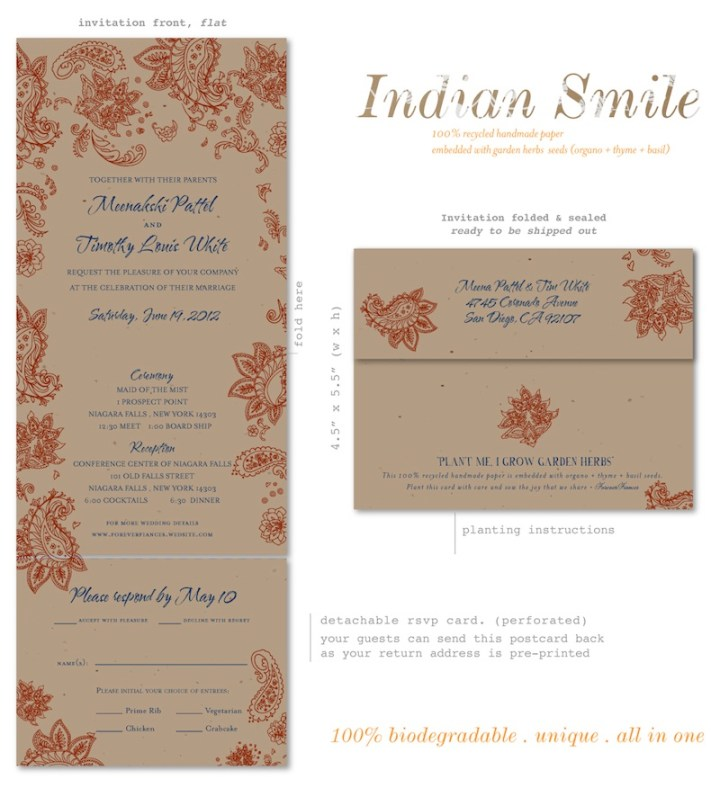 Unique Wedding Invitations On Seeded Paper Indian Smile By