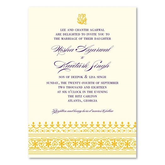 Indian Ethnic Wedding Invitations On Seeded Paper