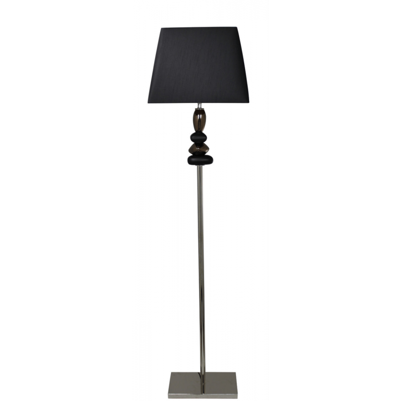 Black and Gold Pebble Floor Lamp With Black Shade