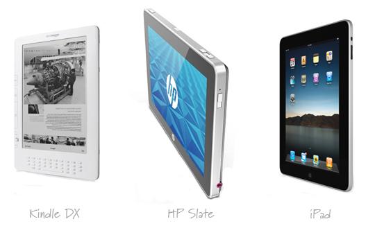 Kindle, HP Slate, iPad