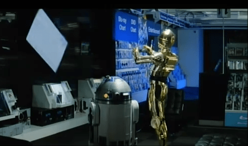 R2-D2 and C-3P0 at Currys PC World Electronics Store