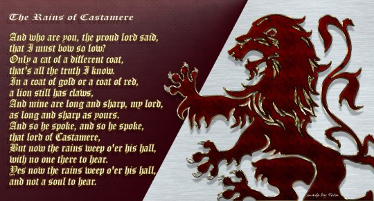 Red Wedding Song.The Rains Of Castamere A Capella