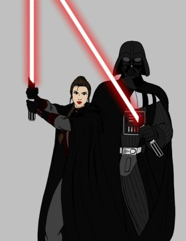 darth vader princess leia dark side sith star wars what if