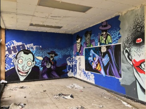 An abandoned hospital in Belgium features some amazing Batman-related graffiti