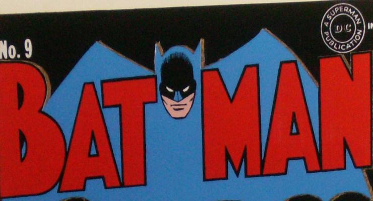 cardboard comic book cover of Batman 9 giveaway