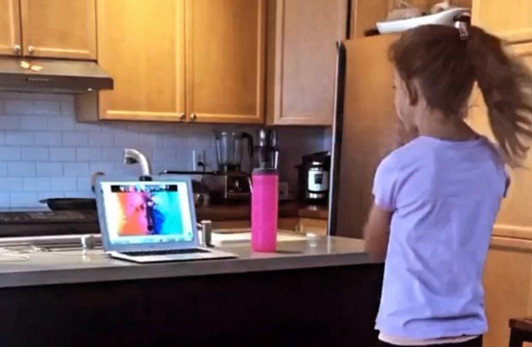 Girl in virtual dance class