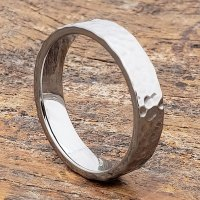 Hammered Tungsten Rings - Men's Flat - Forever Metals