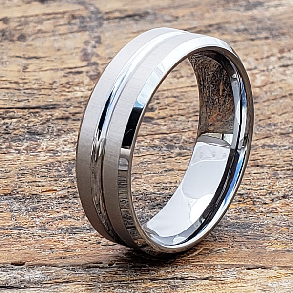 Mica Womens Tungsten Rings  Laser Etched  Forever Metals