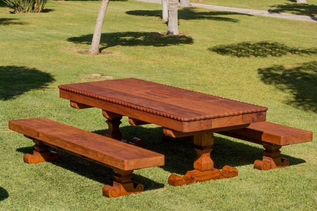 Custom Trestle Natural Wood Outdoor Table