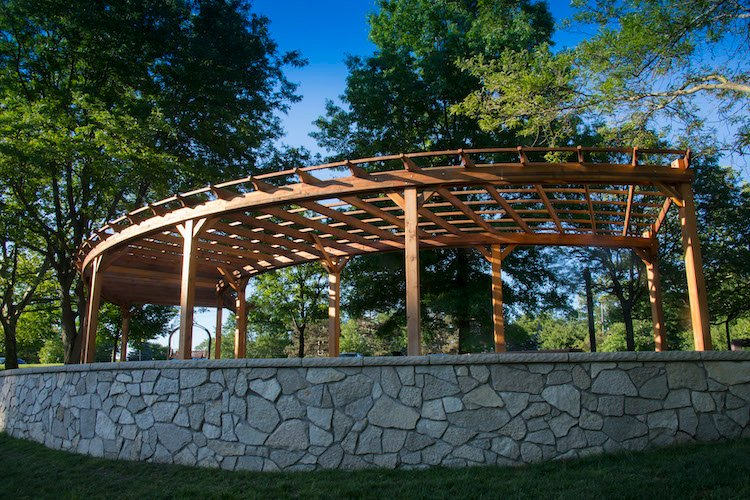 Forever Redwood Fan Pergola at Swan Creek. Photo courtesy of Metroparks.