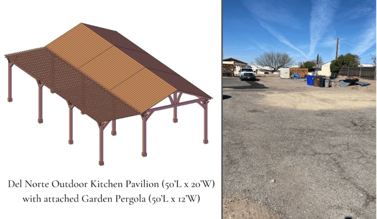 Schematic of the pavilion (left). Future site of the structure, behind the church (right).
