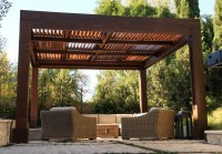 Modern Louvered Garden Pergolas, Custom Made from Redwood