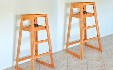 high chair restaurant folding foot caps kids redwood chairs safe for