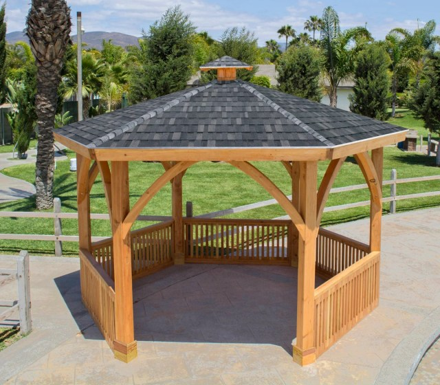 hexagonal park pavilion: custom made outdoor wood pavilion kits