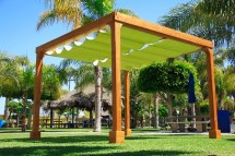 Retractable Shade Canopy Pergola Kit Custom Redwood