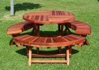 Round Wood Folding Picnic Table with Curved Benches ...