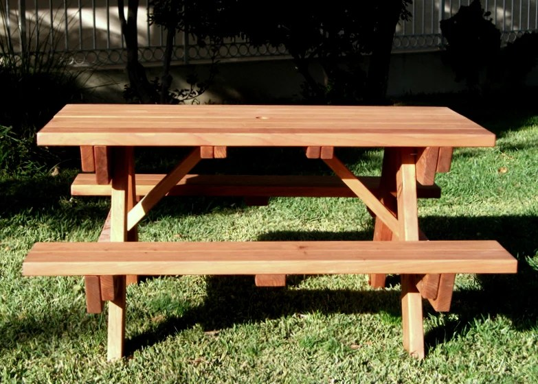 Seating capacity forever redwood forever picnic table attached benches watchthetrailerfo
