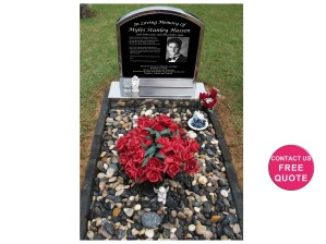 Stainless steel headstone with rusticated kerbs and pebbles