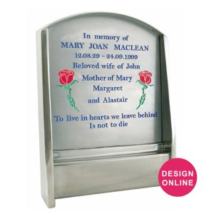Stainless steel granite headstone with glass backing