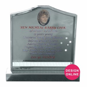 glass blacked stainless steel headstone