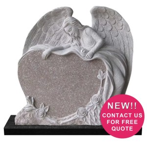 Carved Angel Heart Headstone
