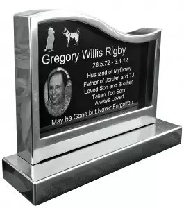 Granite Inlaid Stainless Steel Monument - Left Hand Wave